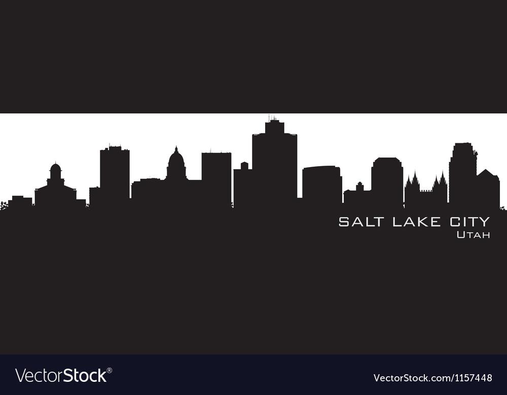 Salt Lake City Utah skyline Detailed city silhouet vector image