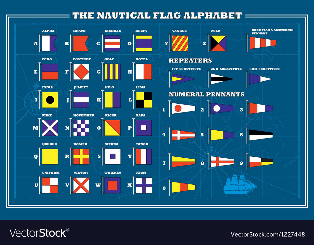 International maritime signal flags - sea alphabet vector image