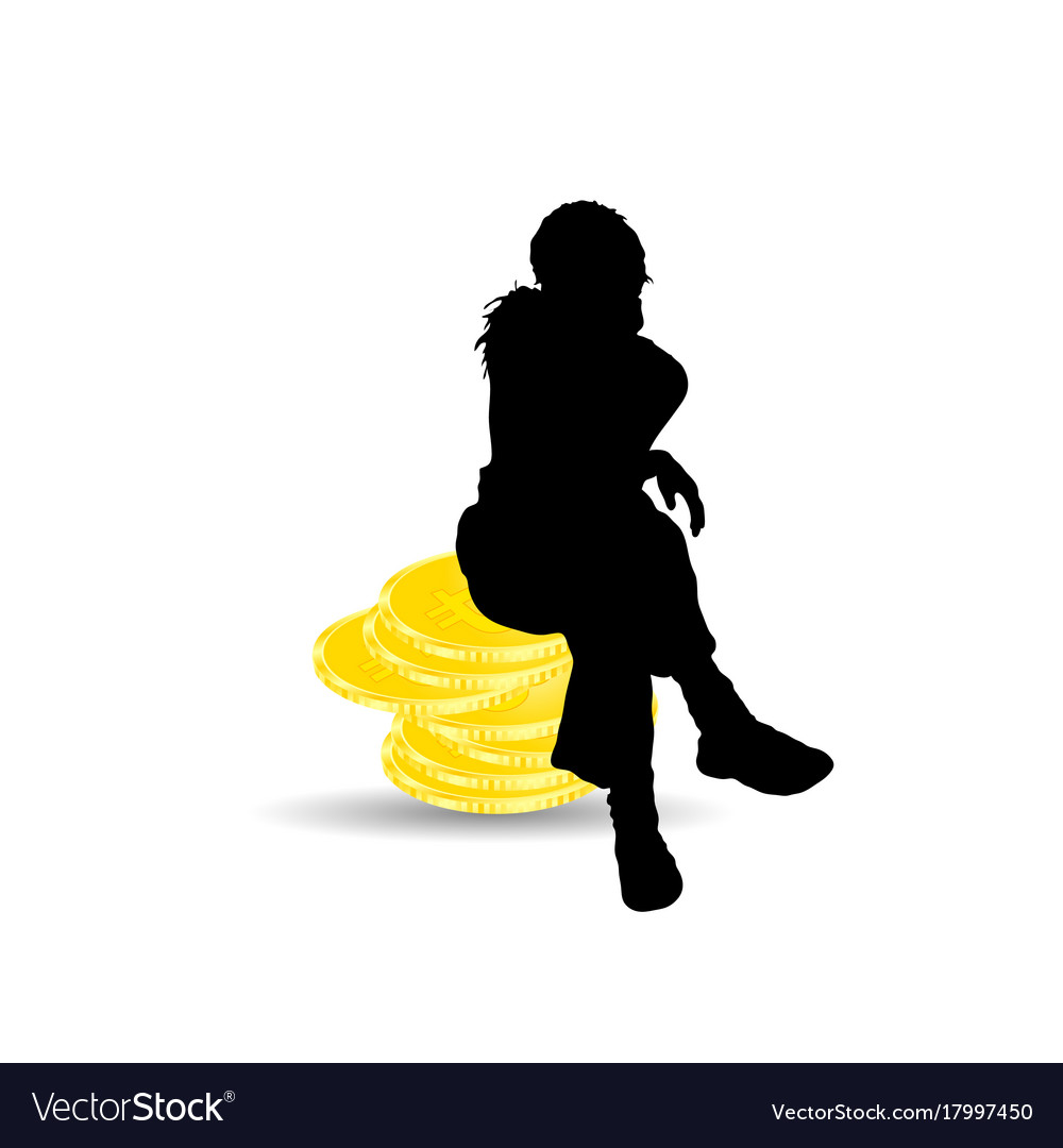 girl silhouette sitting on bitcoin vector image