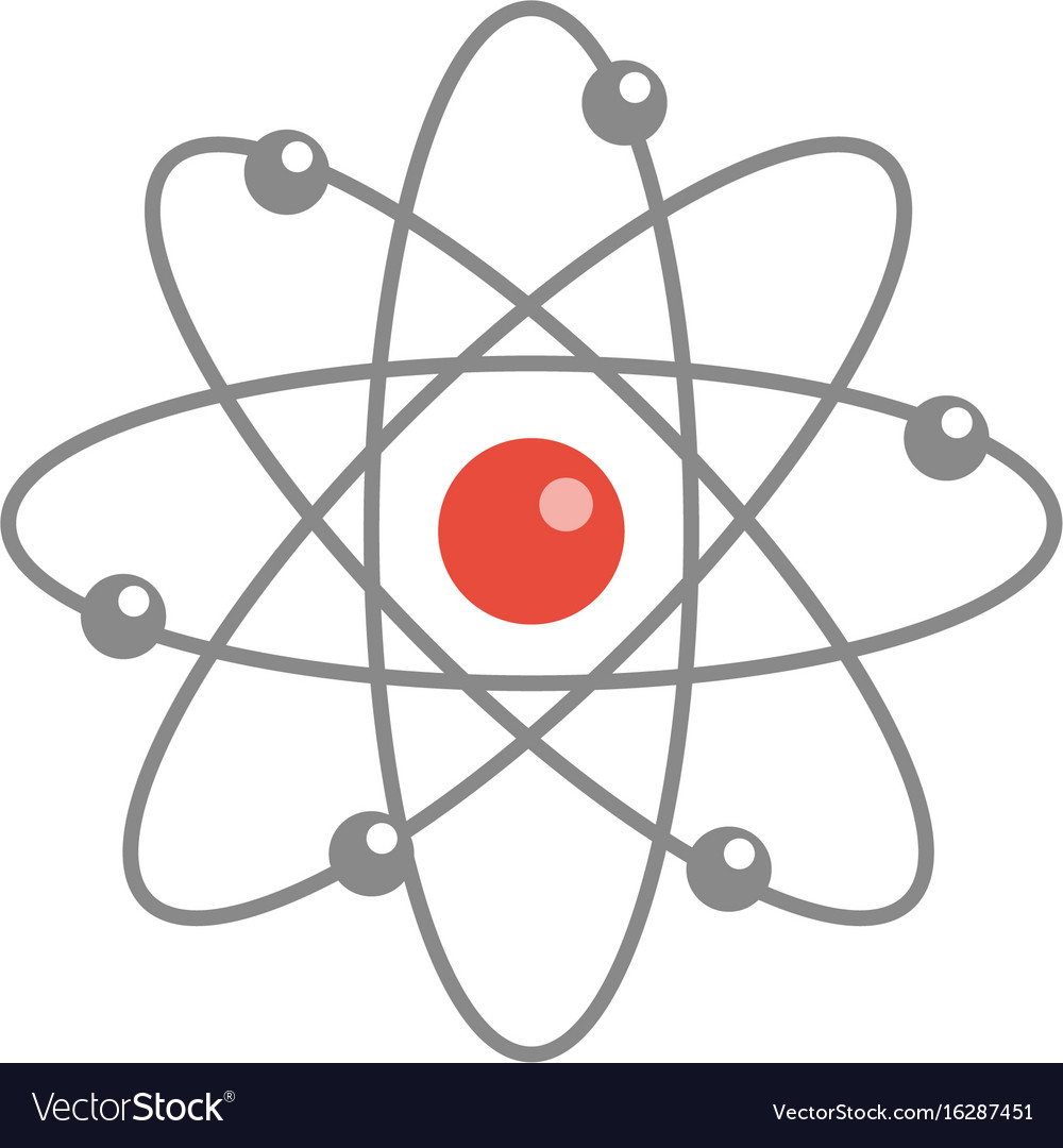 Atom molecule icon flat cartoon style isolated vector image
