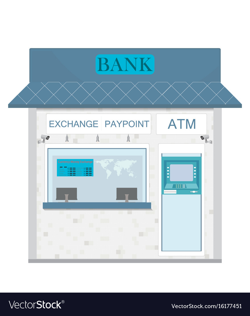 Bank counter currency exchange service and atm vector image