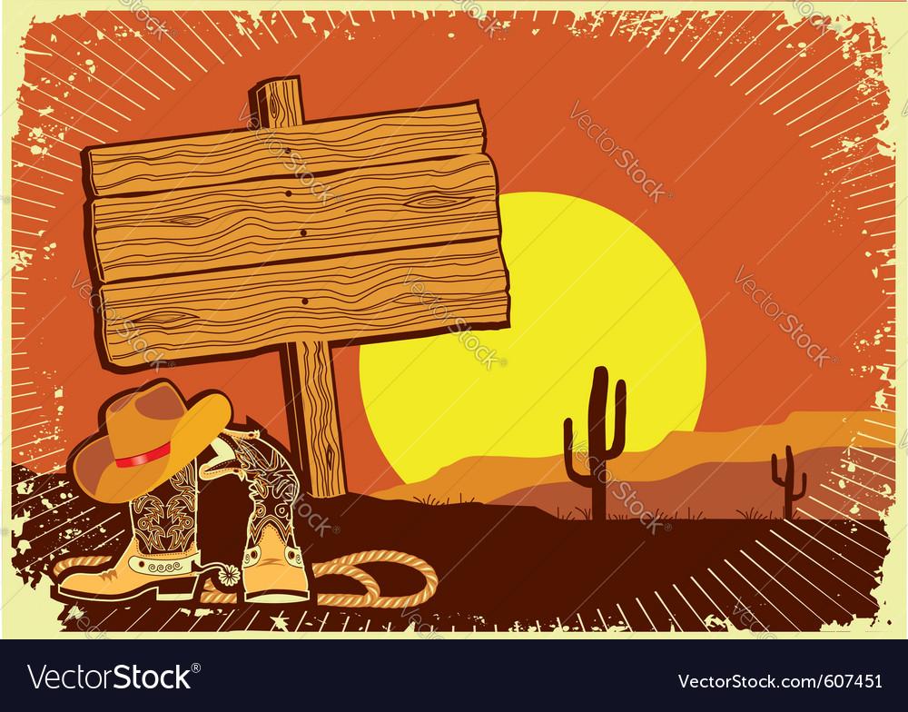 Cowboys landscape vector image