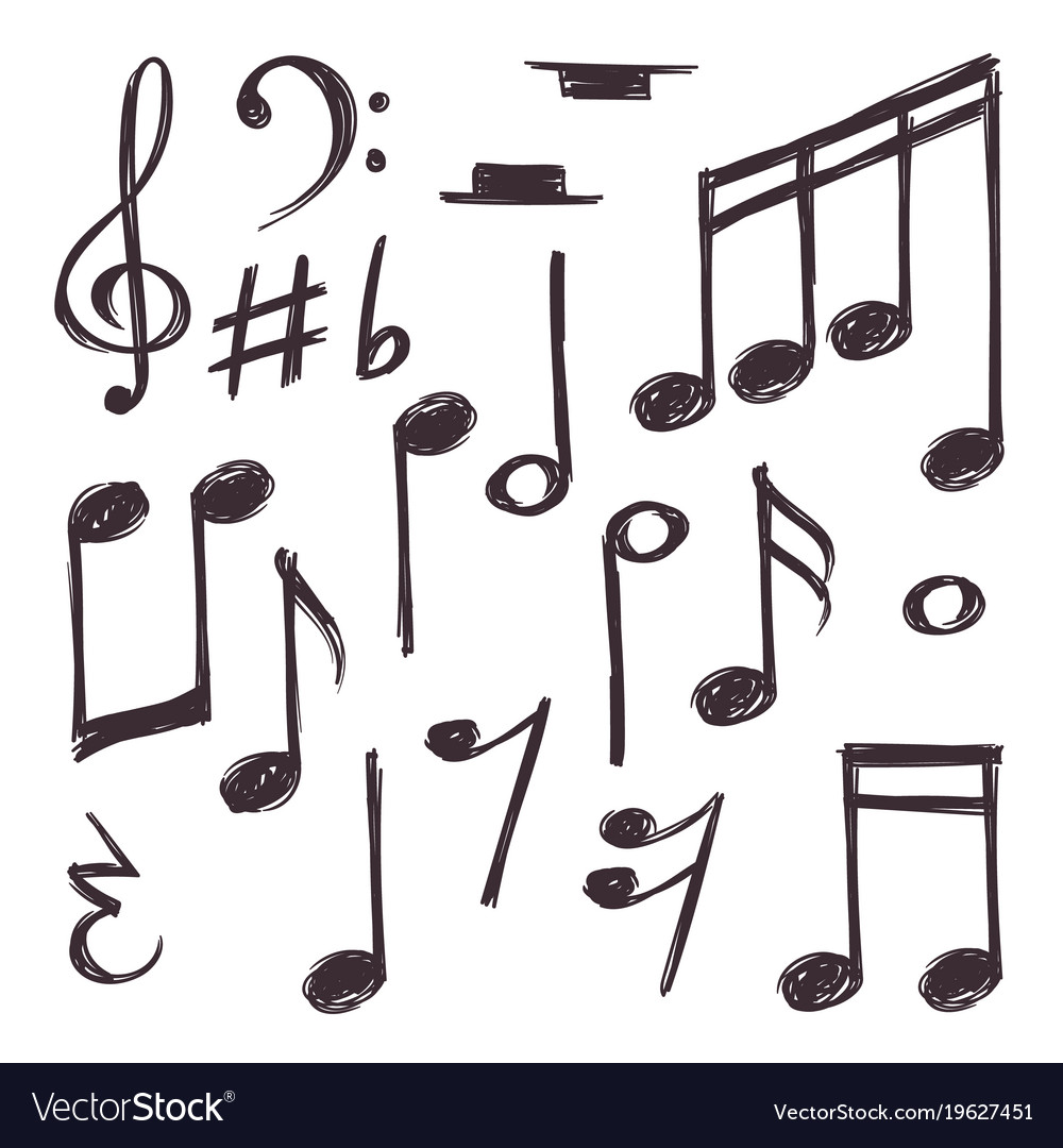 Hand drawn music note musical symbols royalty free vector hand drawn music note musical symbols vector image biocorpaavc Images