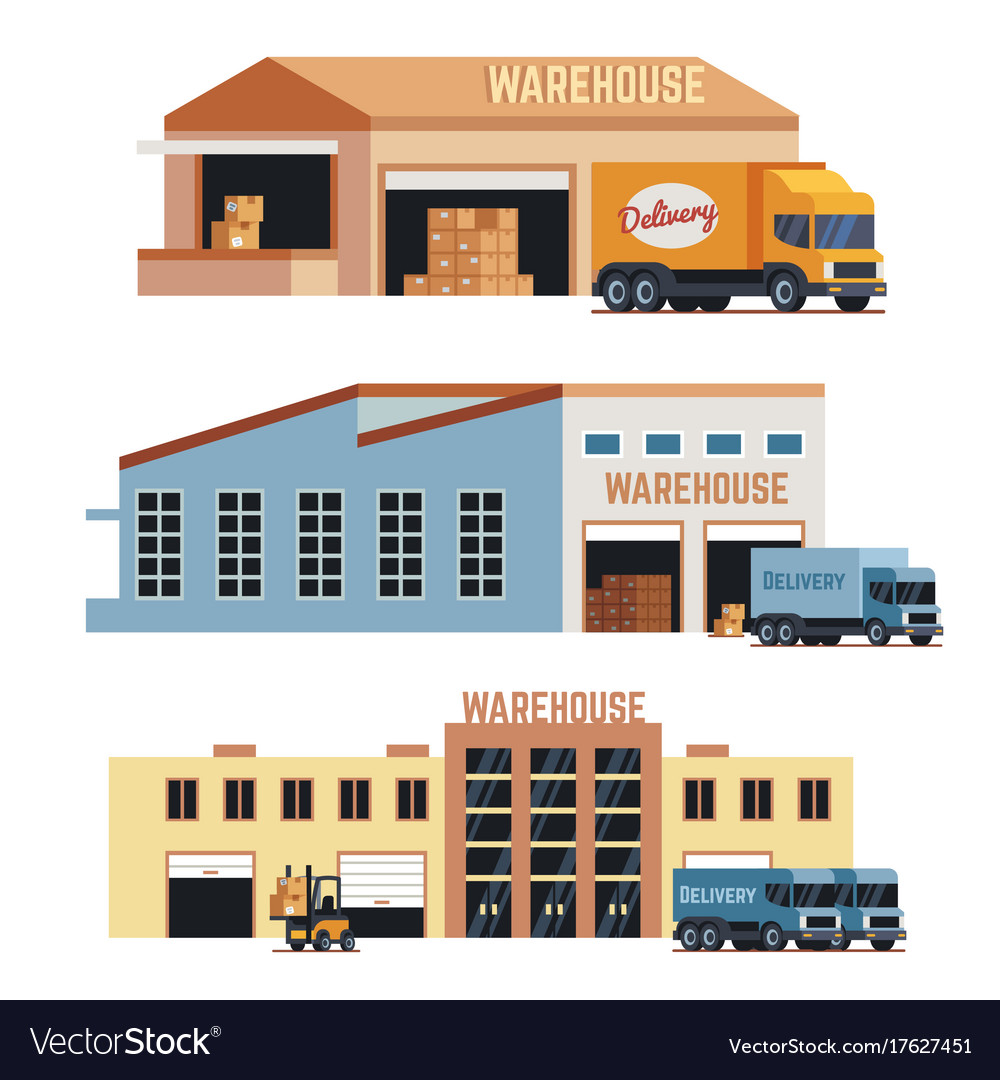 Warehouse building industrial construction and vector image