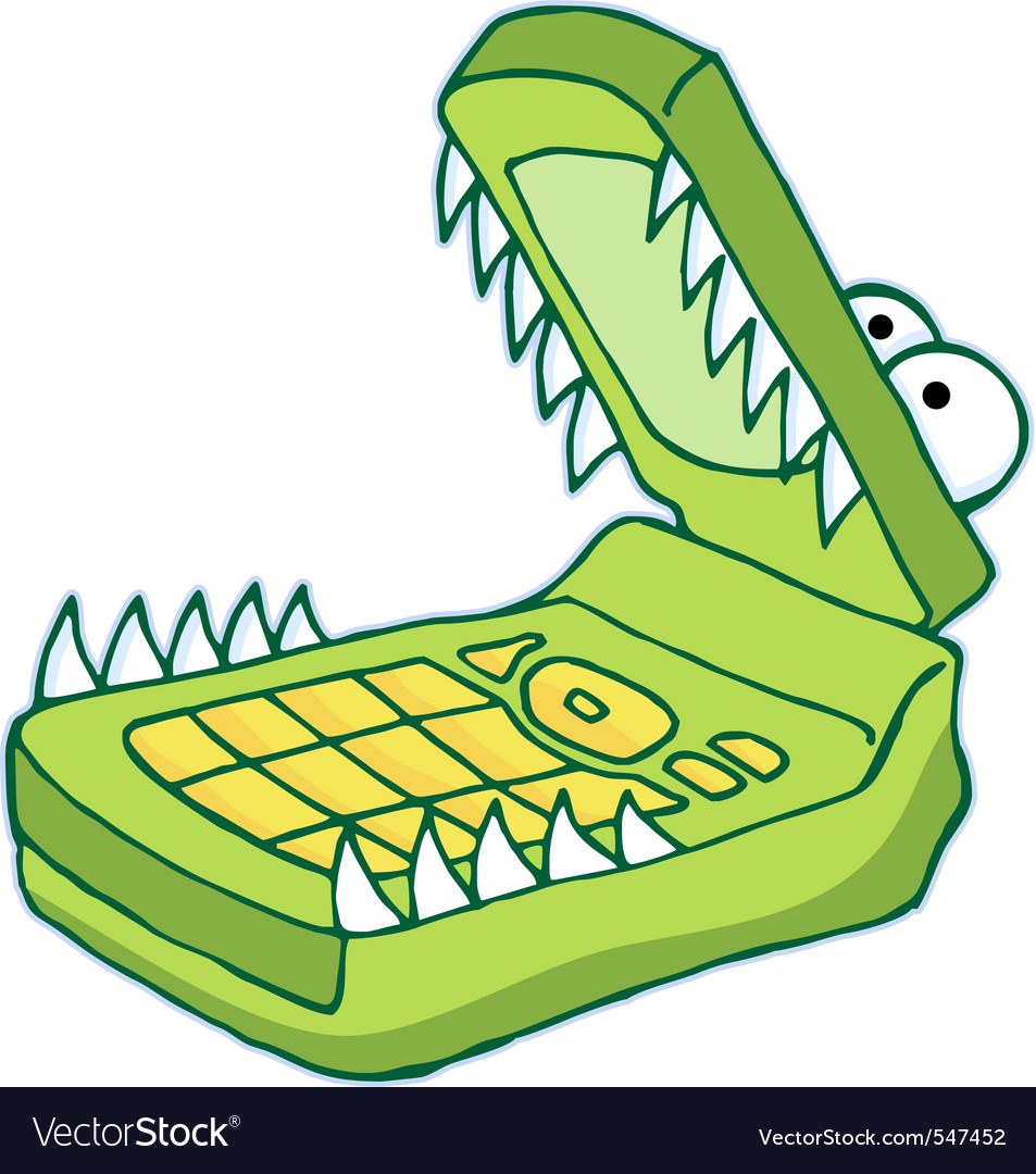 Hungry cellphone vector image