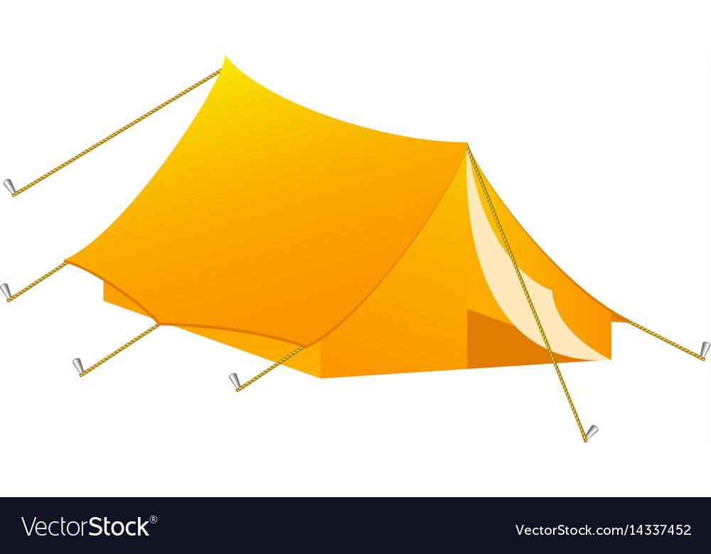 Camping tent in orange design vector image