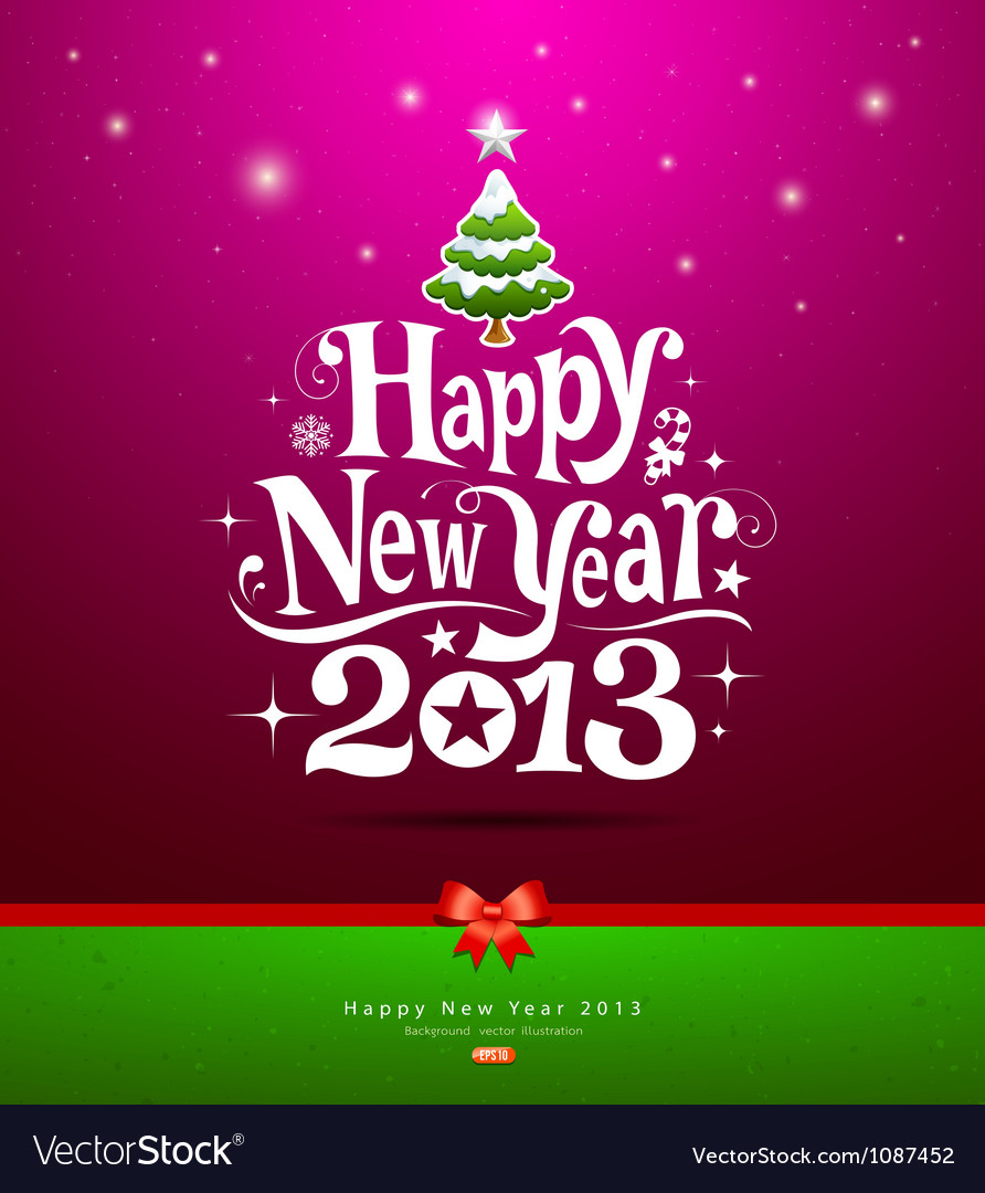 Happy New Year 2013 lettering Greeting Card vector image