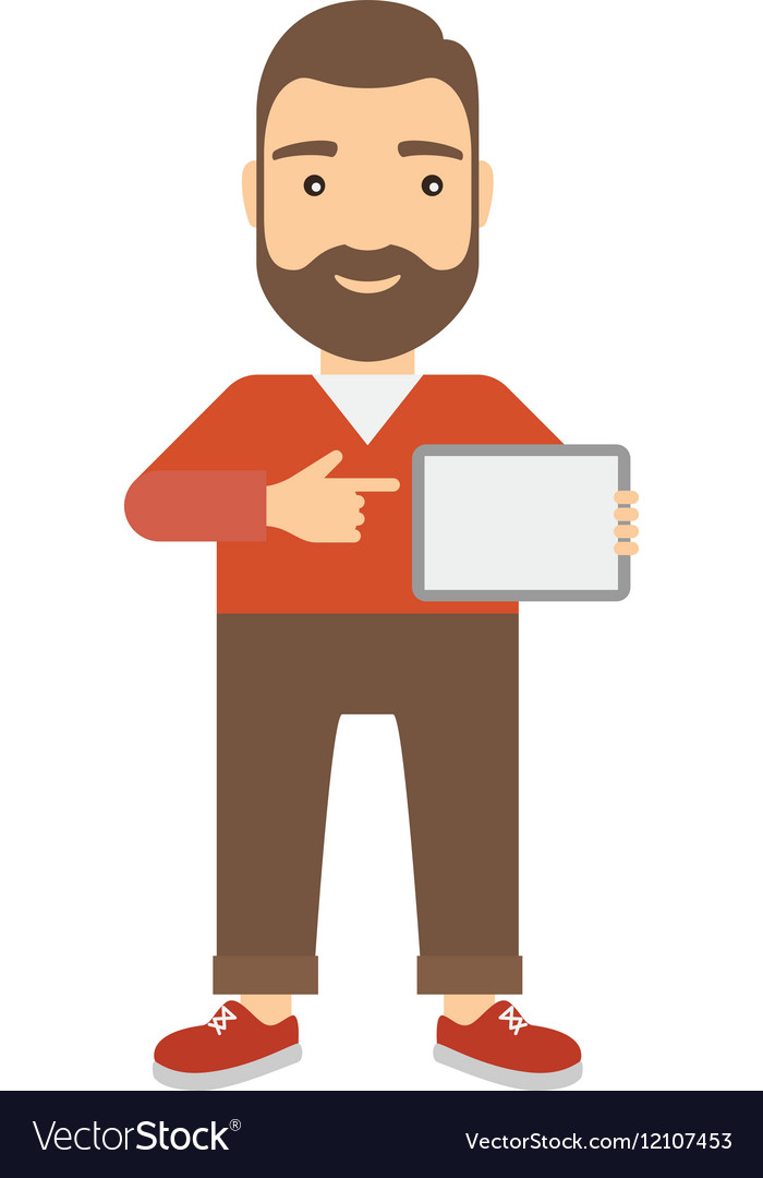Man holding a tablet vector image
