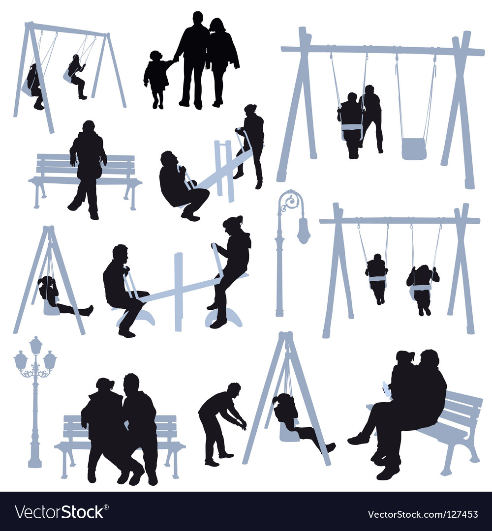 Park silhouettes vector image