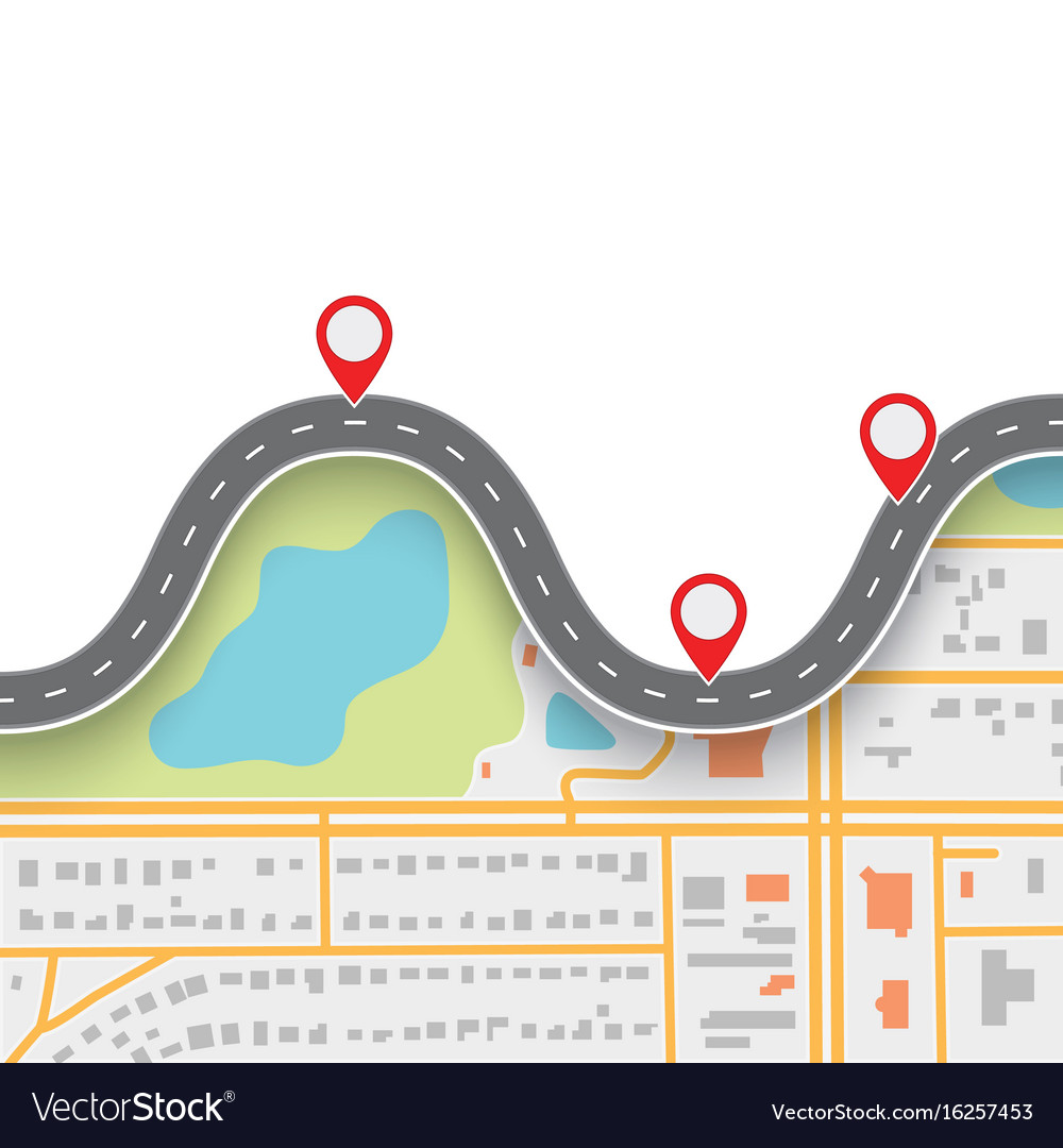 Road trip route winding road on gps navigation vector image