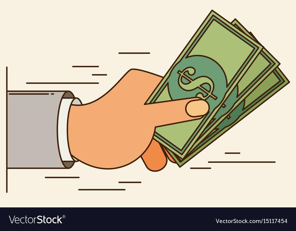 Hands holding money bills flat style vector image