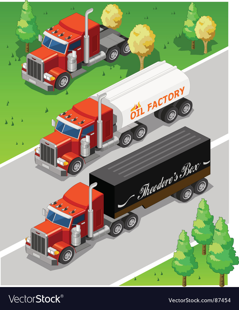 Isometric trucks vector image