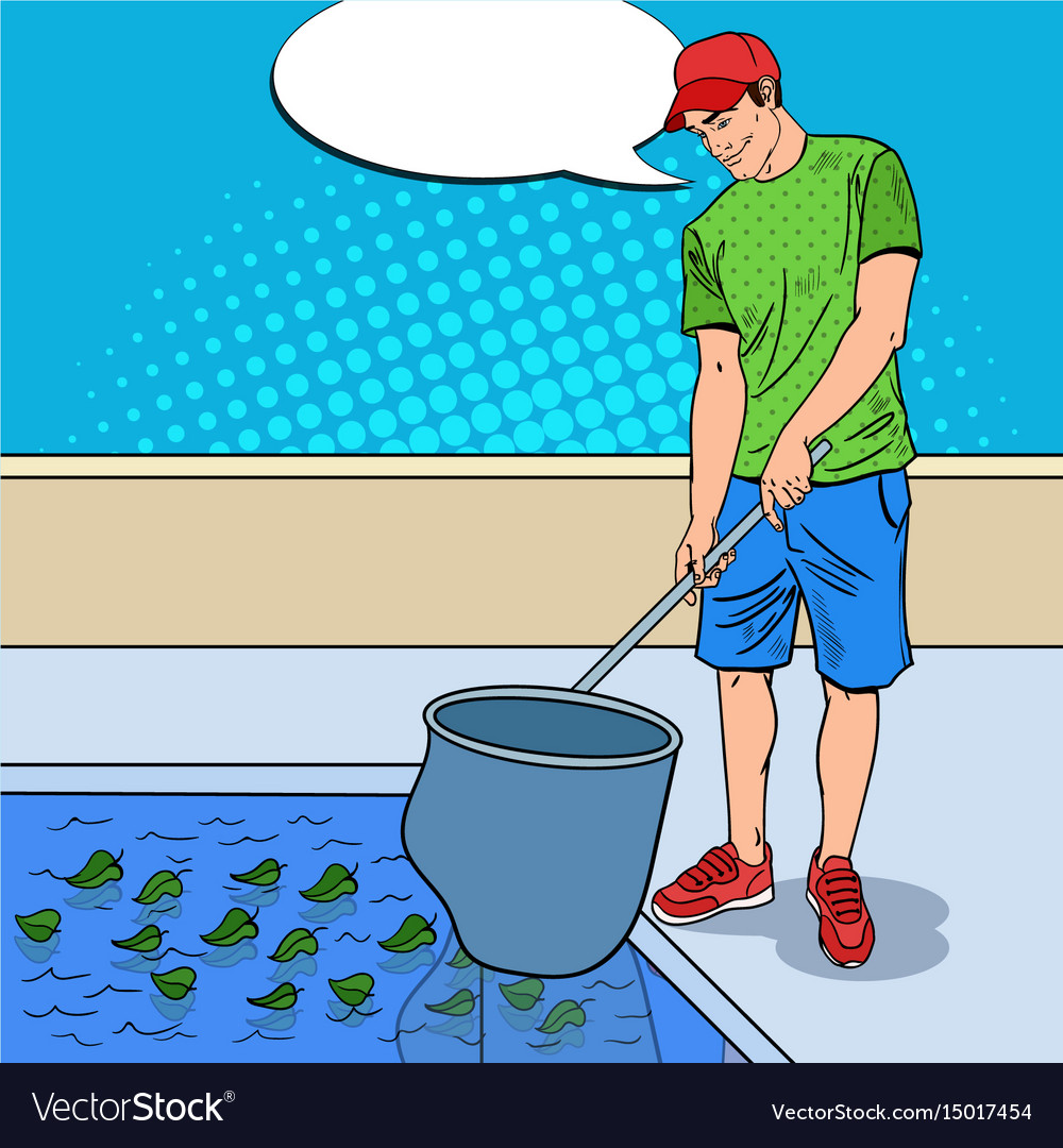 Young man cleaning pool pop art vector image