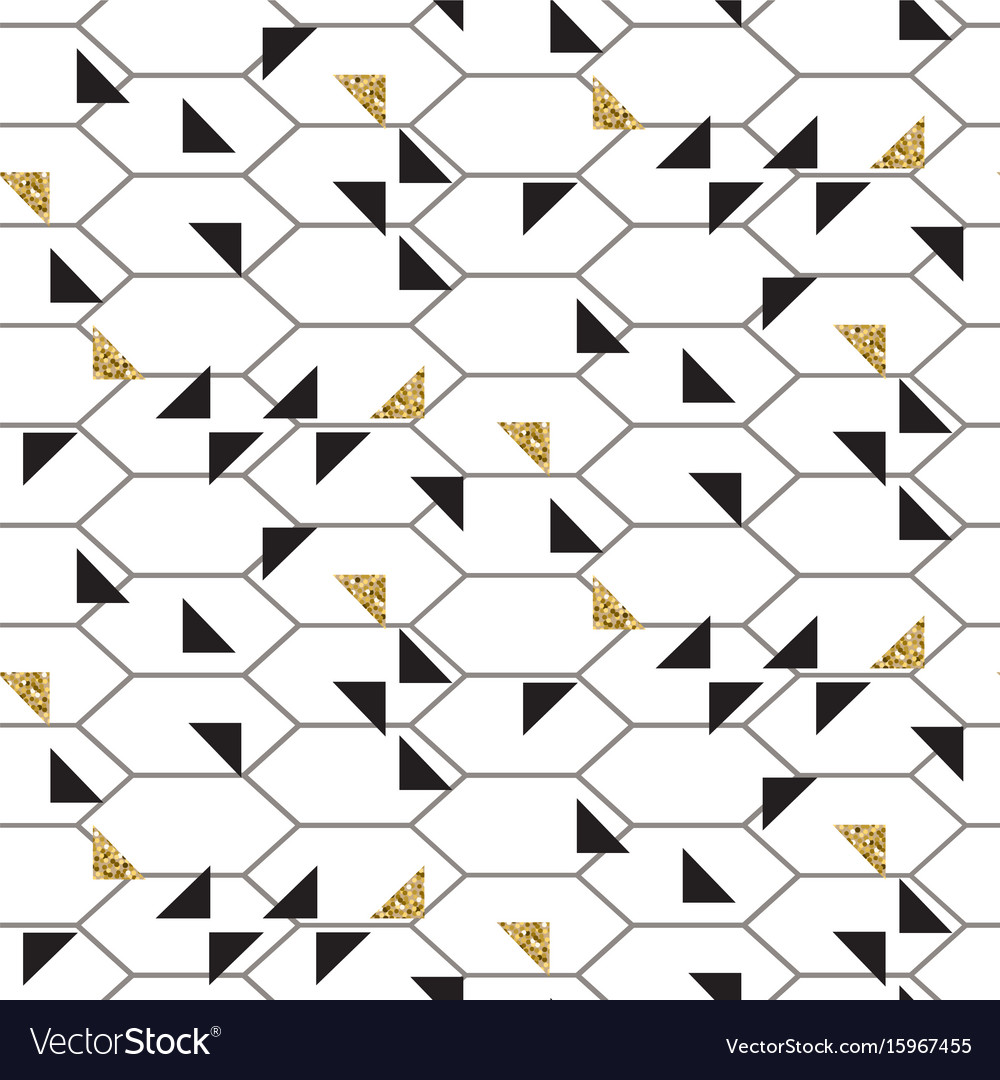 Black and glitter gold triangles mesh seamless vector image