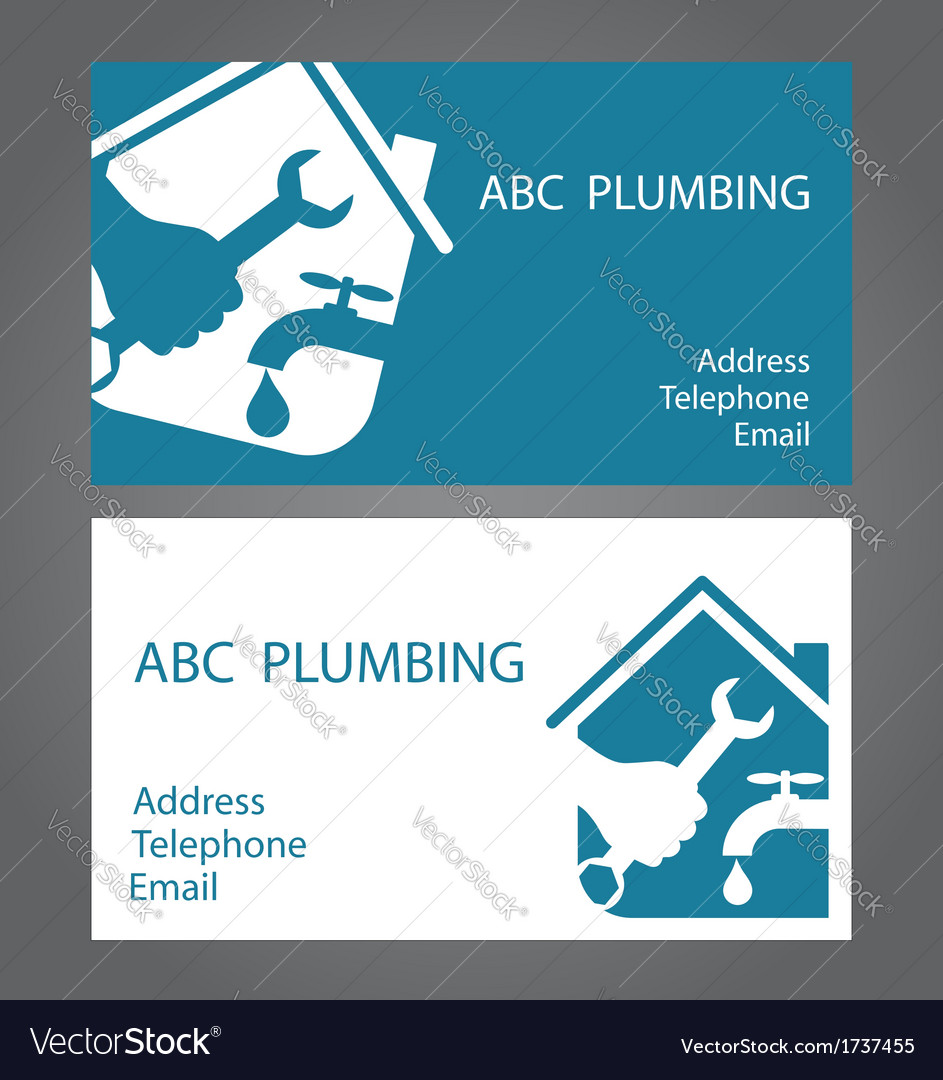 Design Business Cards For Plumbers Royalty Free Vector Image