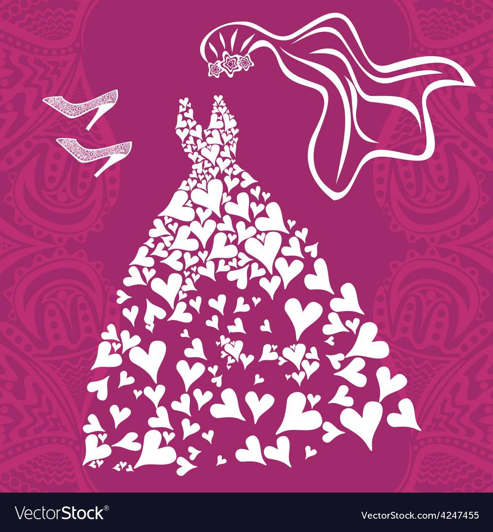 Wedding dress invitation card Royalty Free Vector Image