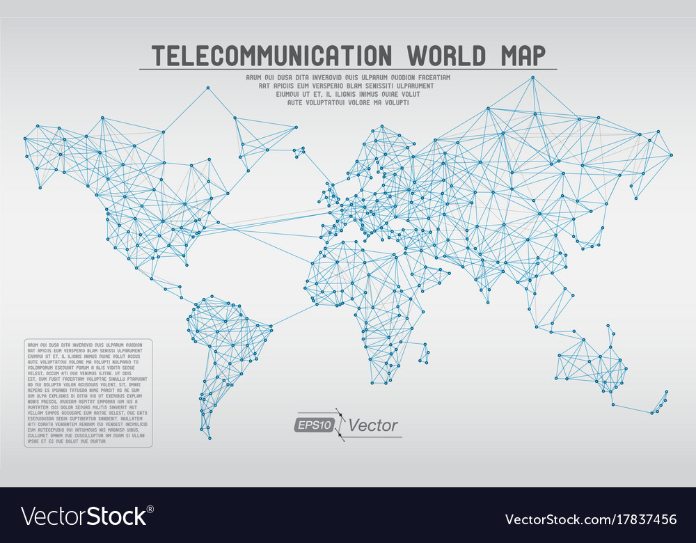 Abstract telecommunication world map with circles vector image gumiabroncs Image collections