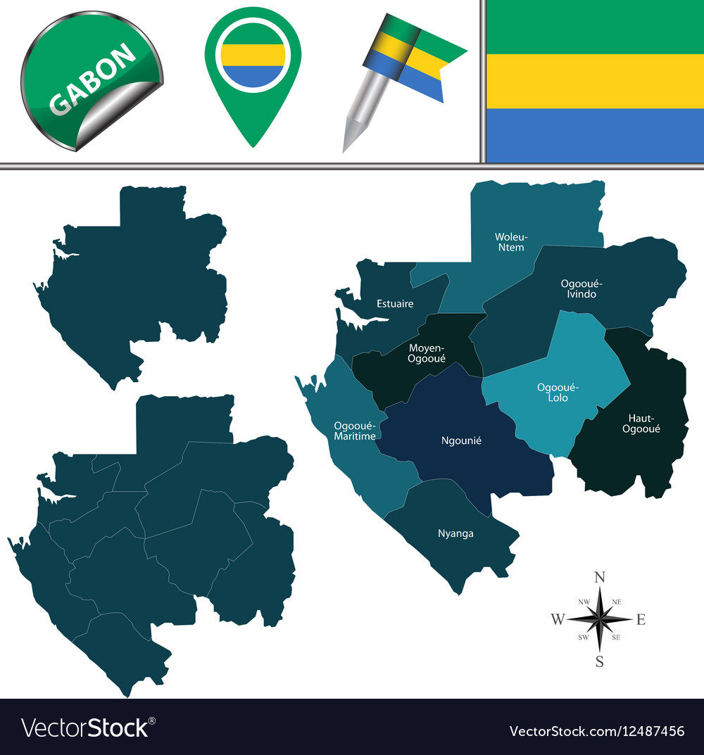 Gabon Map With Named Divisions Royalty Free Vector Image - Where is gabon on the world map