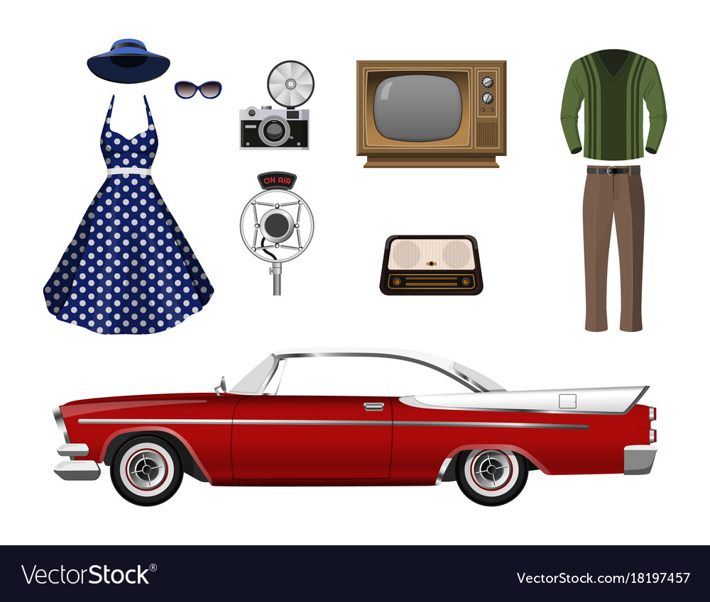 Retro things set of vintage objects vector image