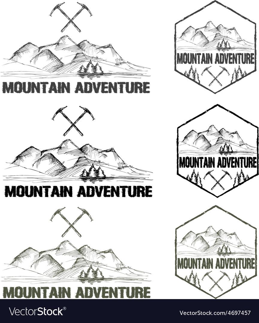 Set of sketch vintage labels mountain adventure vector image