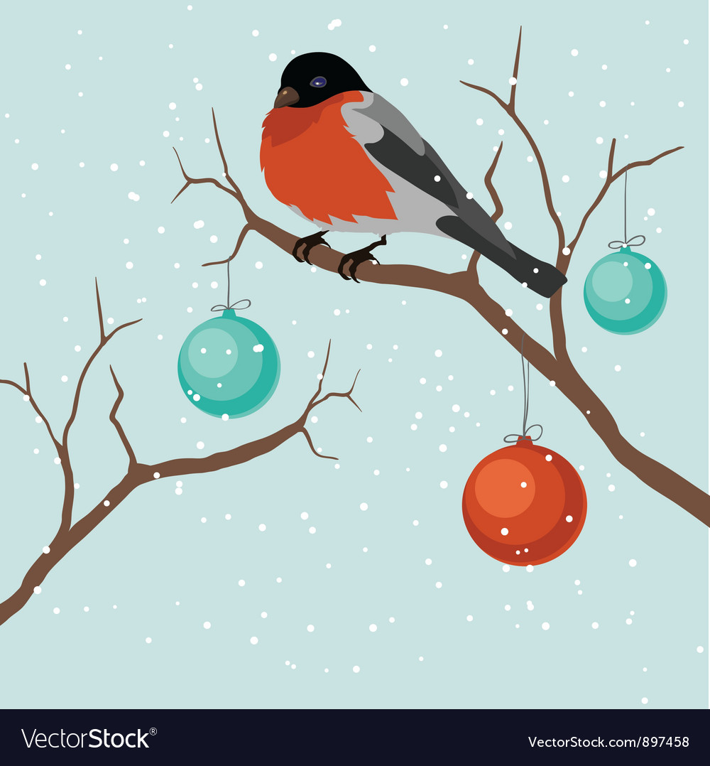 Bird on tree in Christmas A vector image