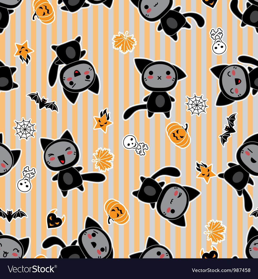 Halloween Cartoon Cat background vector image