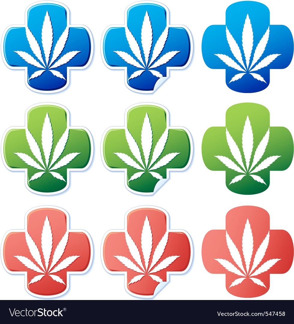 Medical cannabis sticker vector image