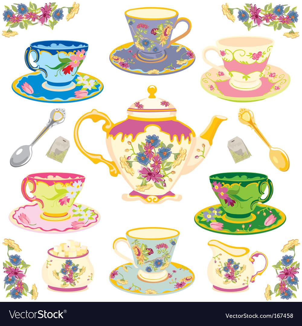 Victorian tea set vector image