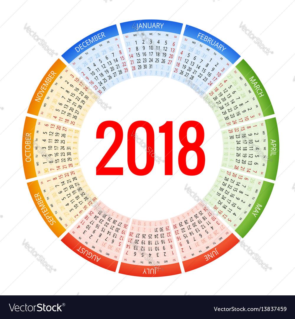 2018 circle calendar print template week starts vector image