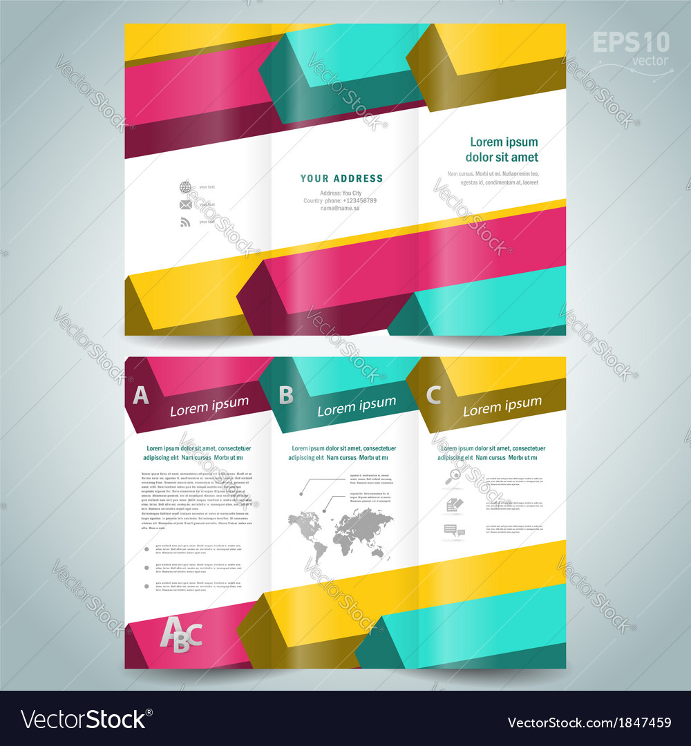 Colored D Line Squares Brochure Design Template Vector Image - 3d brochure template
