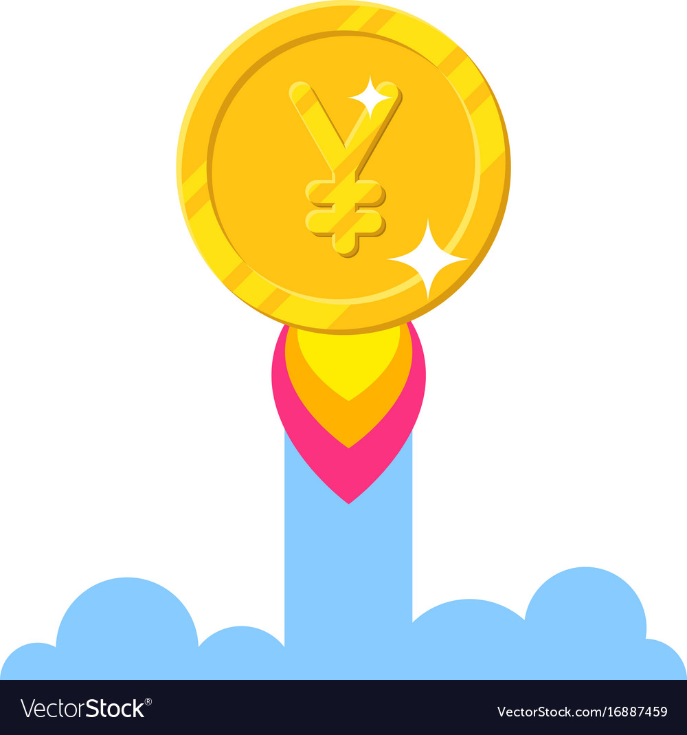 Gold chinese yuan or japanese yen increase cartoon vector image