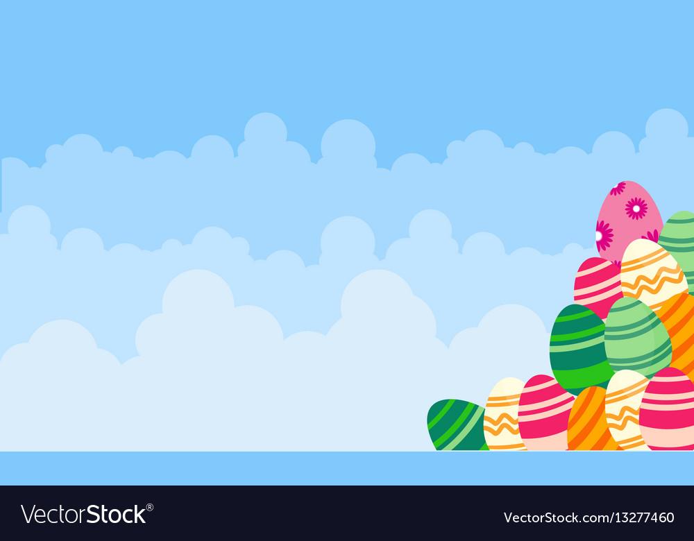 Background easter egg and cloud landscape vector image