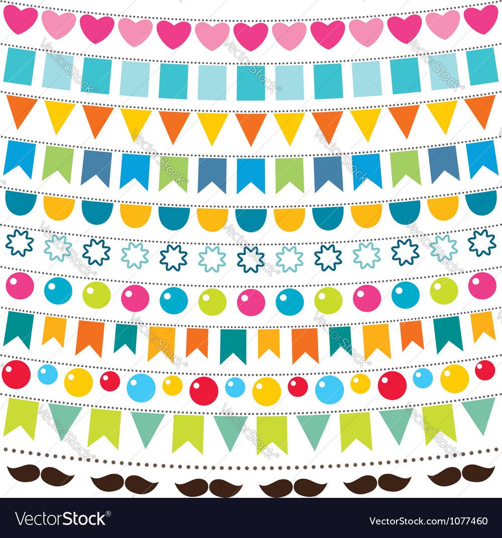 Multicolor bunting set vector image