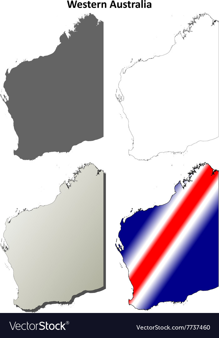 Western Australia outline map set vector image