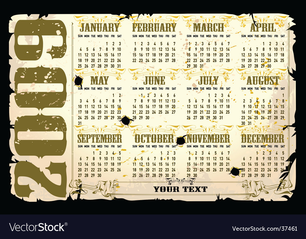 Calender of 2009 starts sunday Vector Image