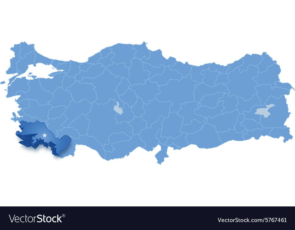 Map of Turkey Mugla Royalty Free Vector Image VectorStock