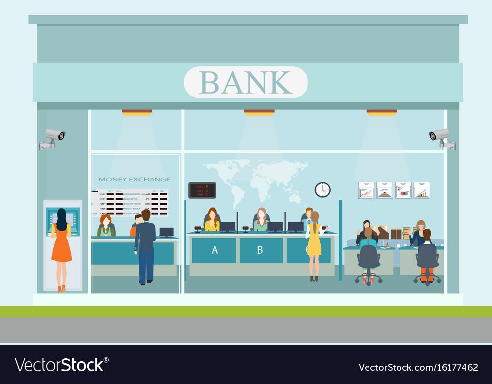 Bank building exterior and bank interior vector image