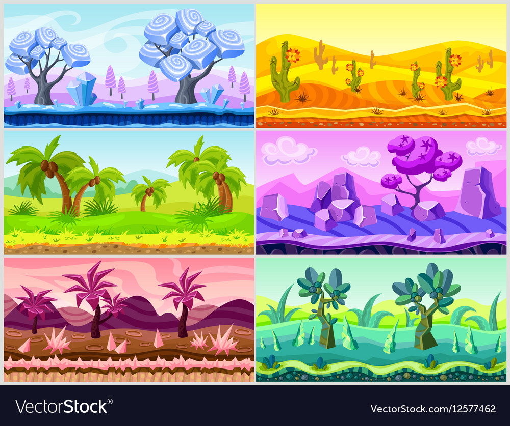 Cartoon Landscape Collection vector image