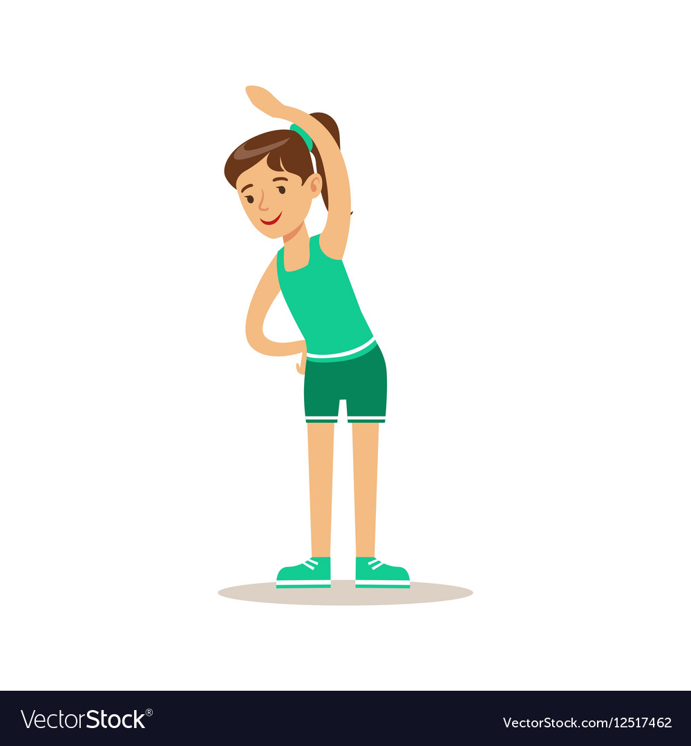Girl Doing Stretching Exercise Kid Practicing vector image
