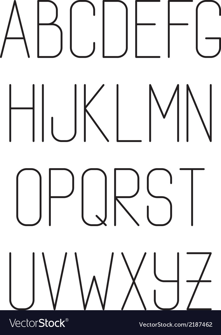 Light thin hand drawn font type alphabet vector image