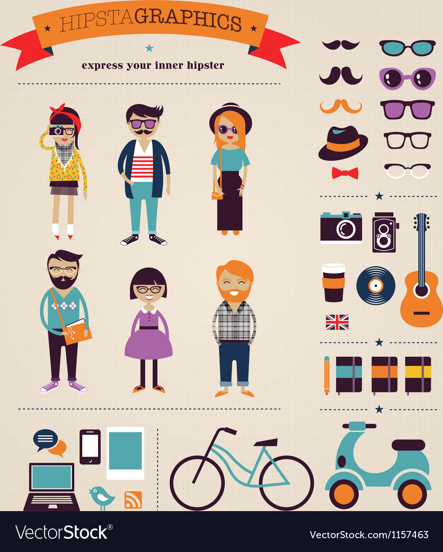 Hipster info graphic concept background with icons vector image