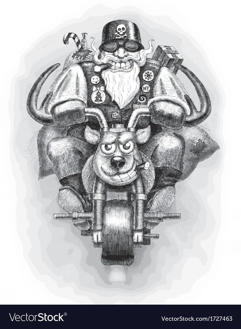 Santa Claus Biker vector image