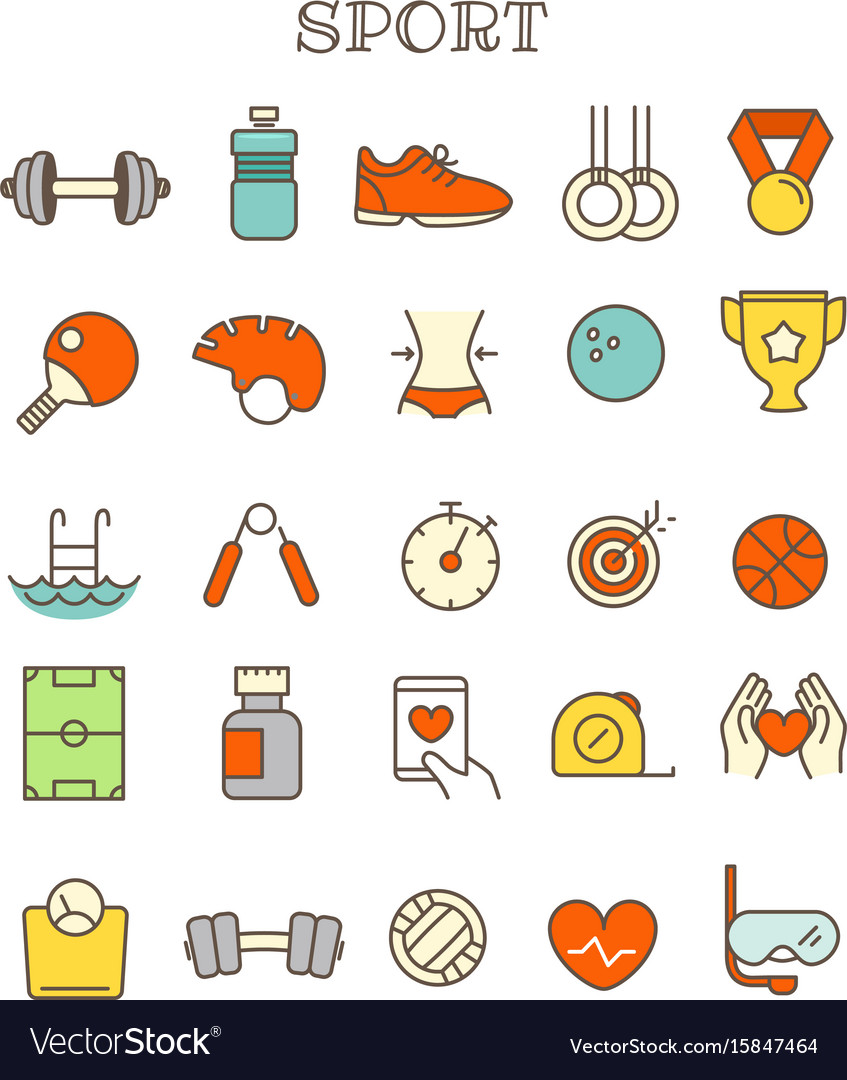 Different sport thin line color icons set vector image