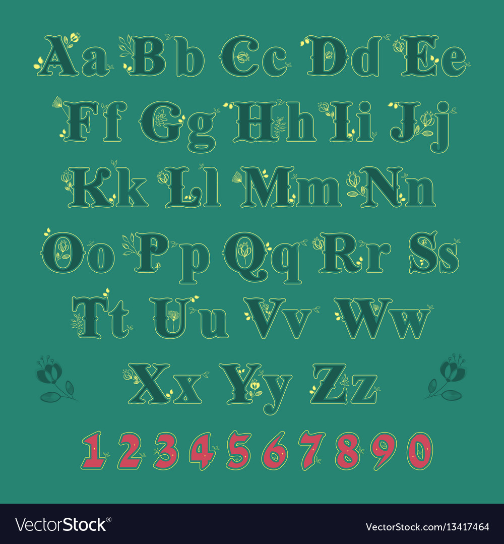 Green alphabet with yellow floral decor vector image