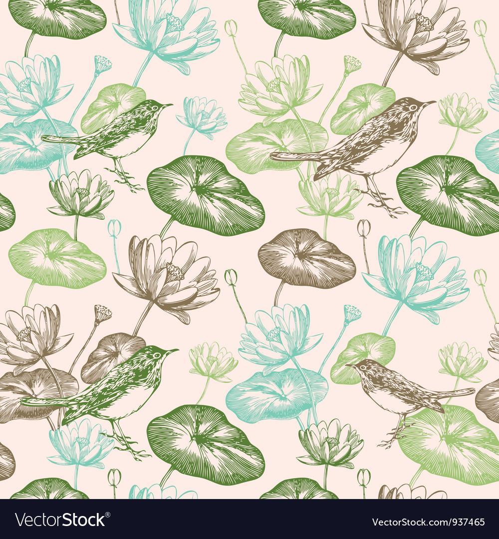 Vintage Bird Floral Pattern vector image