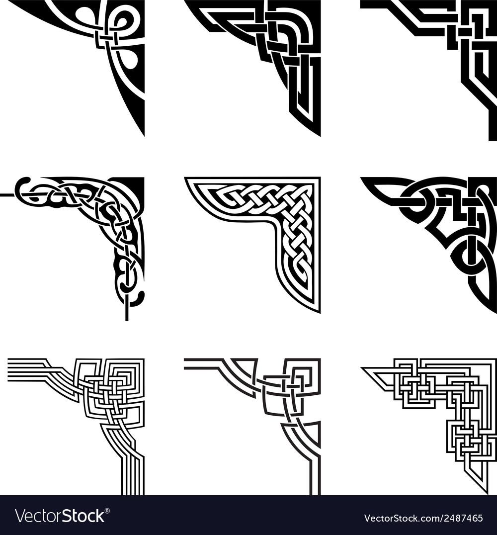 Celtic corners set vector image