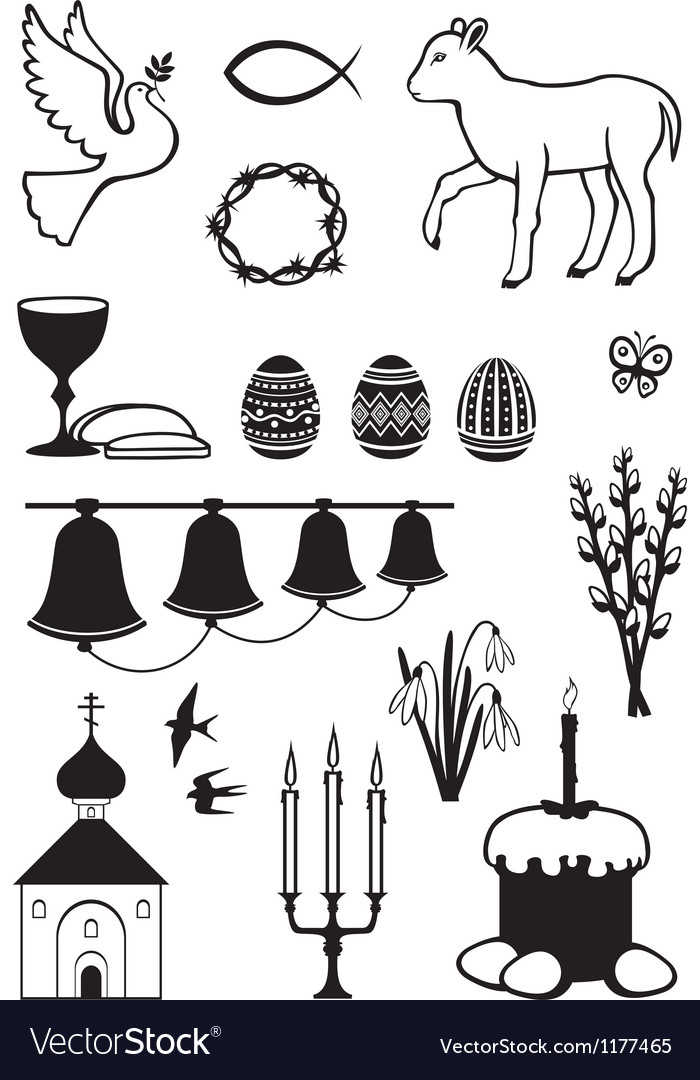 Easter set contour vector image