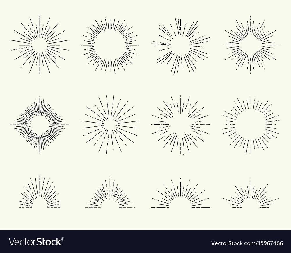 Hand drawn sun beams or rays sunshine vector image