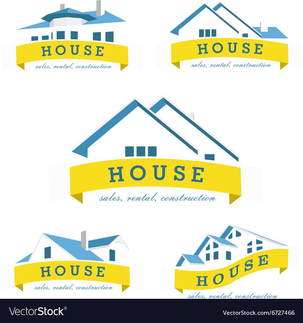 Set house logo design template Realty theme icon vector image