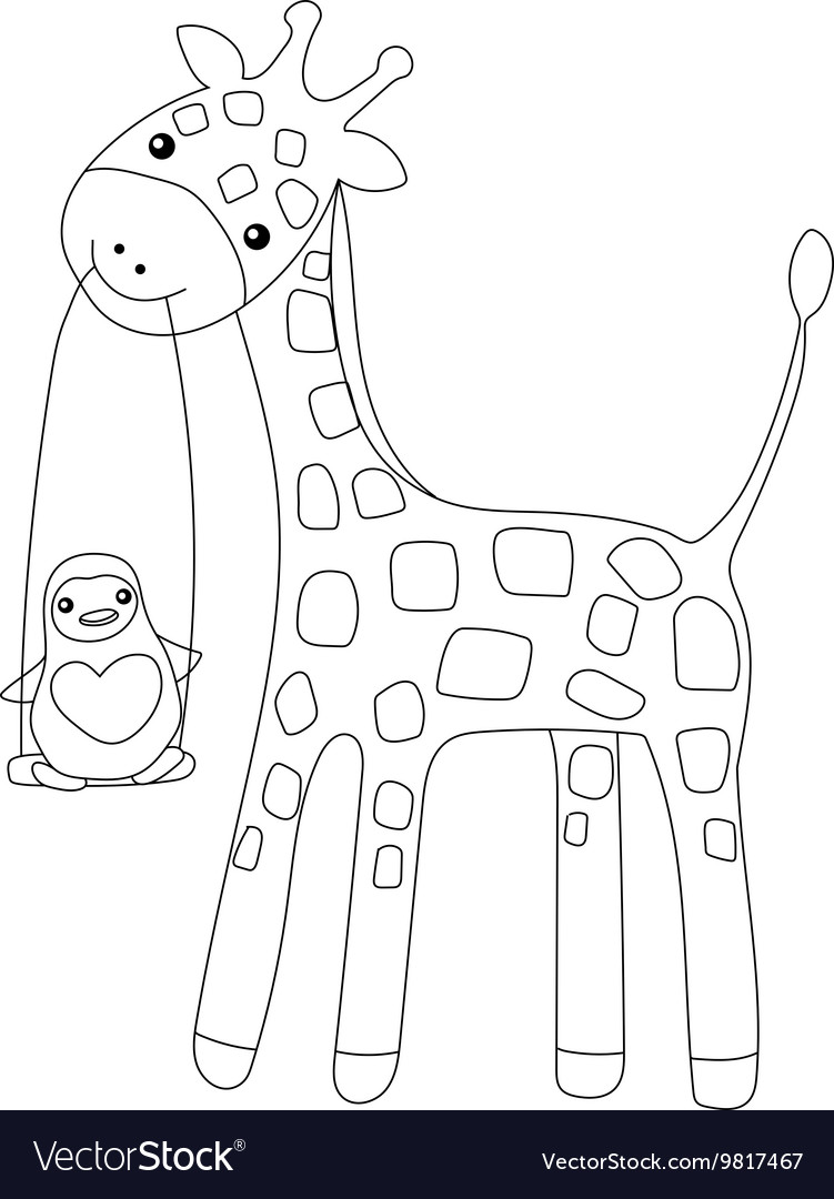 coloring page little cute giraffe and penguin vector image